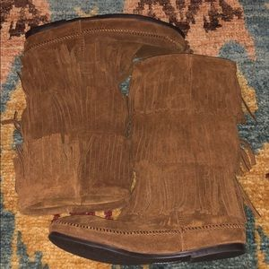 Brown Minnetonka Three Tier Fringe Boots